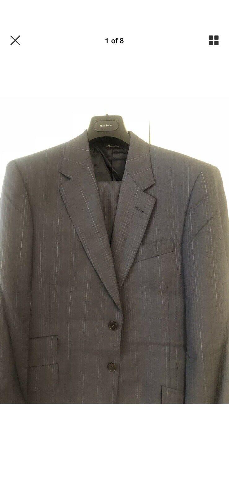 Men Designer Paul Smith London Suit Größe 40R 34 31,Blau Pin Strips Pl Suit Cover
