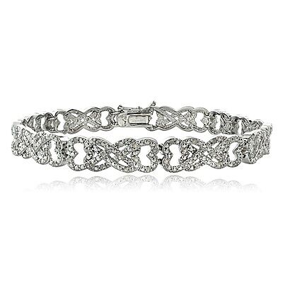 1.00ct TDW Diamond Intertwining Heart Infinity Tennis Bracelet in Brass