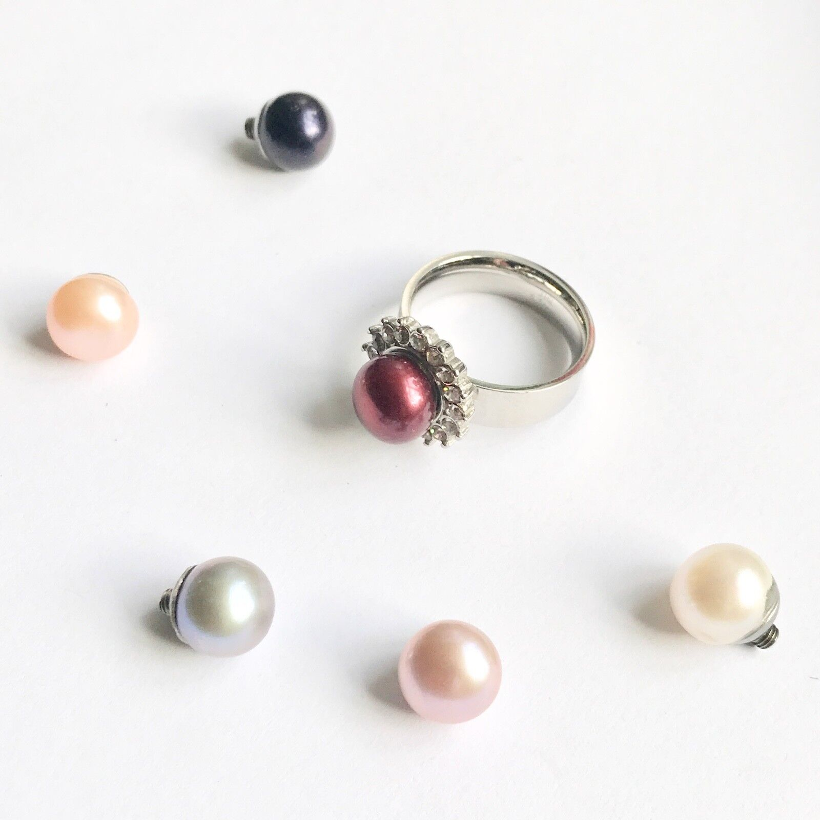 LARGE PEARL CRYSTAL RHINESTONE CRYSTAL CHANGEABLE RING