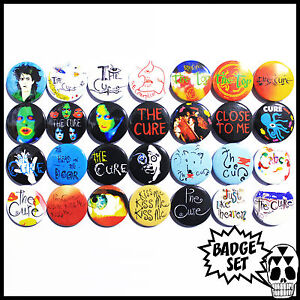 The-Cure-1984-1988-Badge-Set-28-Quality-Pin-Button-Badges-Robert-Smith