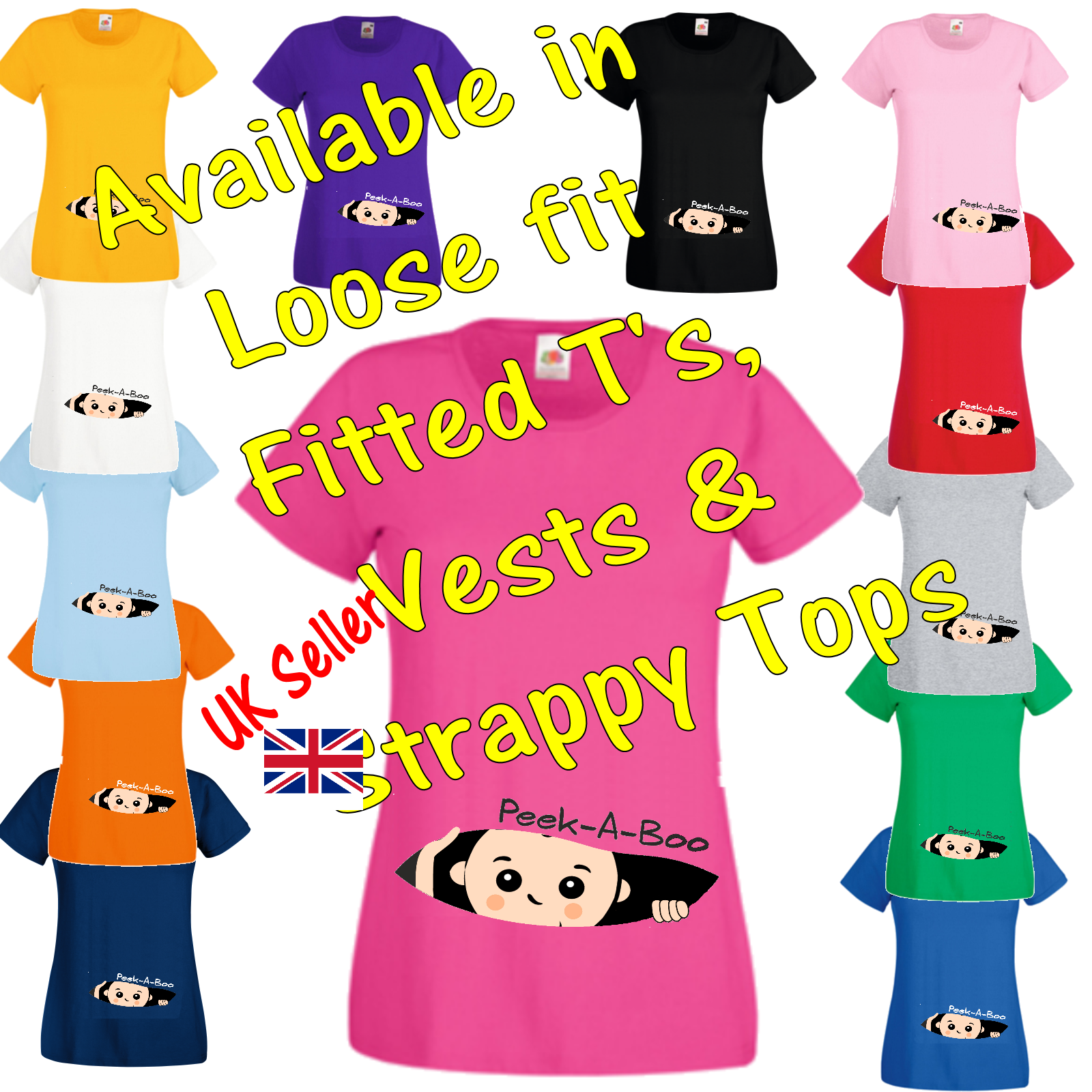 492841aaf3fe0 Details about Peek a Boo T Shirt Vest Strappy Top funny comic pregnancy  maternity