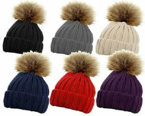 RockJock Ladies Cable Knitted Ski Hat with Large Detachable Faux Fur Pom Pom