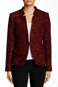 Charles-Gray-London-162896-Women-039-s-Boucle-Knit-Jacket-Red-Black-Sz-Large