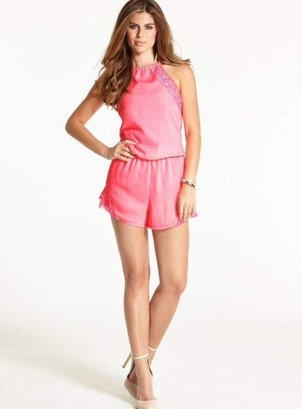 NWT GUESS  89 Flirty Romper Shorts Jumpsuit w  lace Pink S 4 5