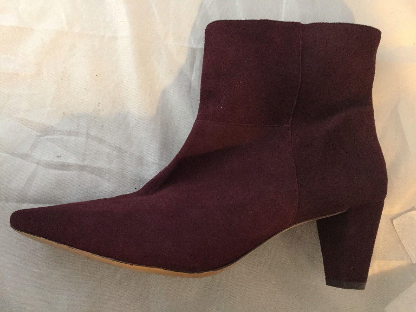 NEW Rachel Zoe Ginz Ankle Bootie, Burgundy Suede, Women Size 9.5