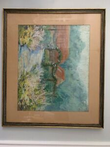 Berks County Pastel Chalk Drawing Unsigned H.shoemaker Floral And Mountains