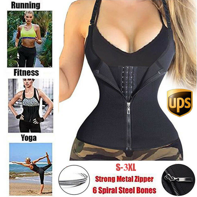 US Women's Underbust Waist Trainer Boned Body Shaper Vest wi