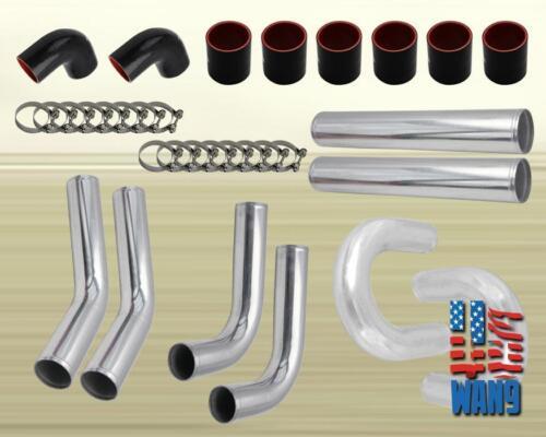 "4/"" Large Tubing Aluminum 8PCS Turbo Intercooler Piping Kit Black Coupler T-Clamp"