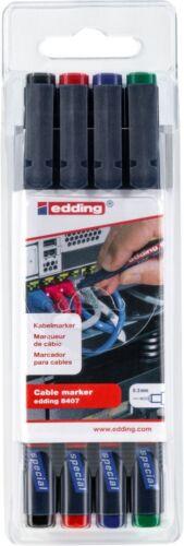 4 Stück edding 8407 Kabelmarker Rundspitze 0,3mm farbsortiert