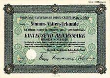 Rheinisch-Westfälischen Boden-Credit Bank Köln alte Aktie 1941 Rheinboden Aareal