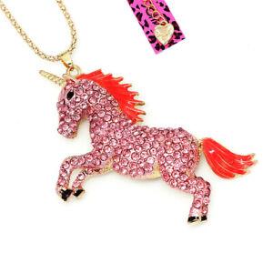 Betsey-Johnson-Enamel-Crystal-Cute-Horse-Unicorn-Pendant-Animal-Necklace