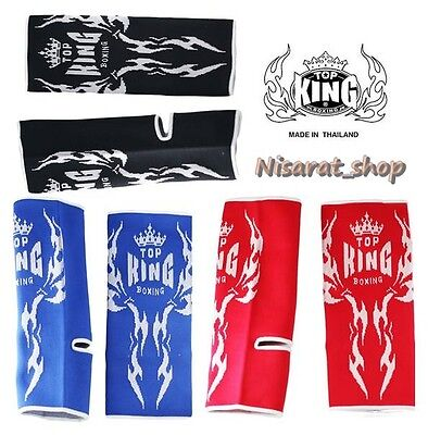 Top King Red//Black Ankle Supports for Muay Thai MMA Boxing Kickboxing