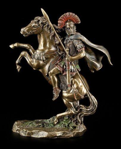Veronese Statue Deko Krieger bronziert Zenturio auf Pferd Römer Figur