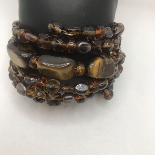 Copper Wire Wrap Bracelet with Frosted Brown and Sparkly Amber Beads