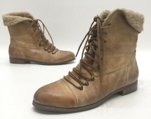 Miz-Mooz-Hiro-Womens-Tan-Distressed-Leather-Lined-Above-Ankle-Boots-Size-11