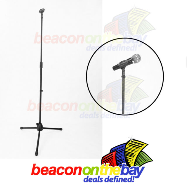 Microphone Stand with Mic Clip Tripod Base Adjustable Height DJ Karaoke Vocals