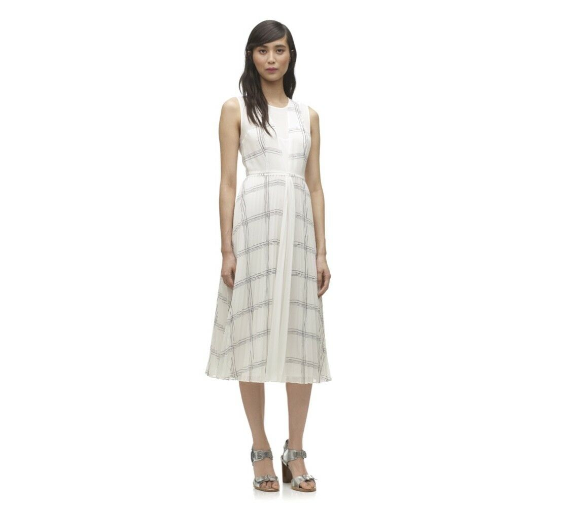 Whistles-Adrianna Grille Plissé Dress-NEW-Blanc-Taille 14-Femme