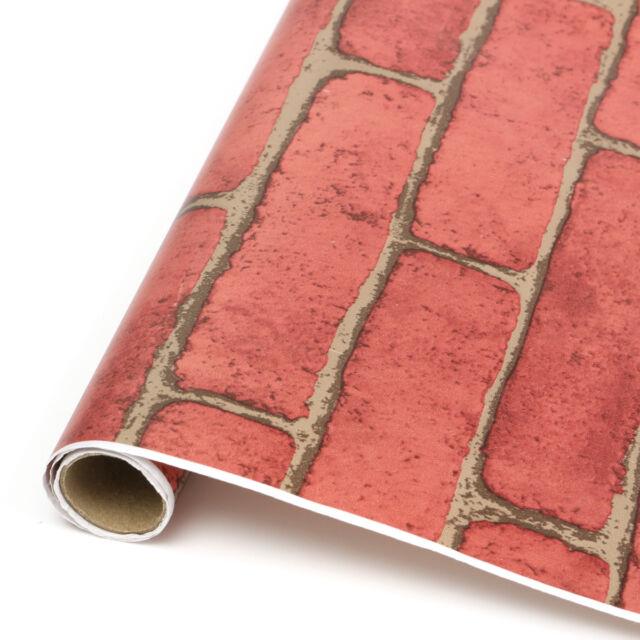 1/5/10m Vintage Embossed Stone Brick Effect Vinyl Wallpaper Background Decor #HJ