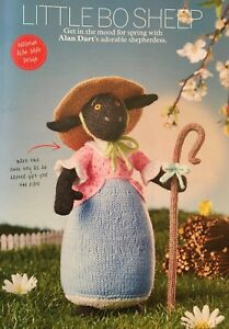 KNITTING-PATTERN-Alan-Dart-Little-Bo-Peep-Black-Sheep-33cm-Tall-Staff-PATTERN