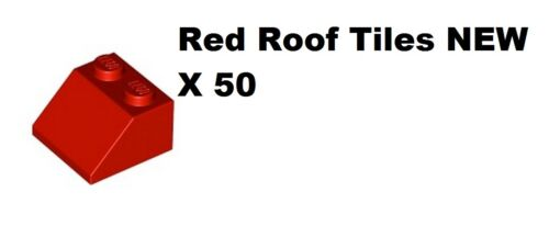 LEGO Pack of 50 Red Roof House Tiles Sloping Bricks 2 x 2 Stud NEW