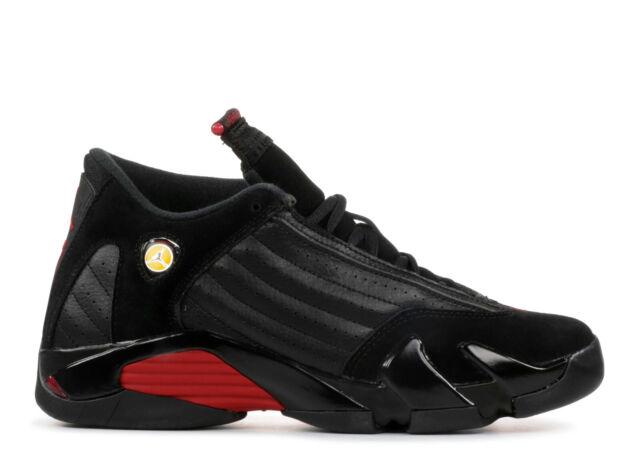 c7b71b9d1c0a Nike Air Jordan 14 Retro BG Black varsity Red 487524-003 US 4 Youth ...