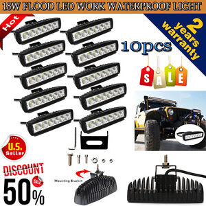 10PCS-6-034-18W-CREE-LED-WORK-LIGHT-BAR-FLOOD-BEAM-OFFROAD-DRIVING-FOG-LAMP-ATV-UTE
