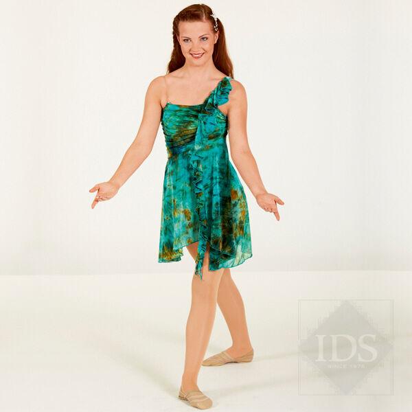 IN STOCK Gorgeous Green Multi Tie Dye Lyrical Dress Dance Costume