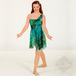 0404cc692 IN STOCK Gorgeous Green Multi Tie Dye Lyrical Dress Dance Costume | eBay