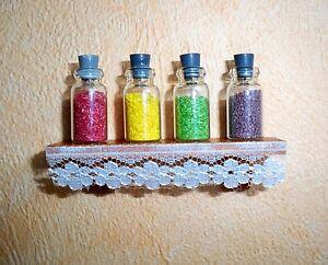 1:12 Mayfair miniature bord avec 4 verres à épices-maison de poupée