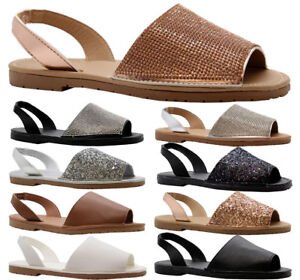 Ladies-Summer-Sandals-Womens-Diamante-Flats-Menorcan-Beach-Flip-Flops-Shoes-Size