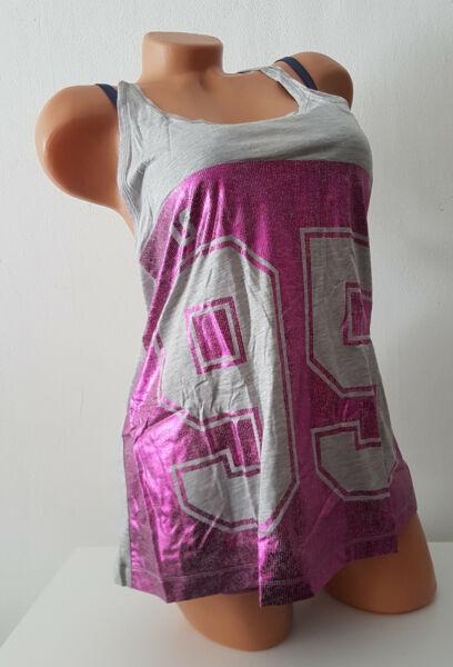 Reebok Damen Top Tanktop Tank Shirt Sport Lila/Grau Glitzer Größe S – XL NEU