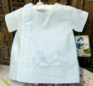NWT-Will-039-beth-Blue-Bunny-Train-Diaper-Set-Newborn-Baby-Boys-Cap-Size-0-3-Layette