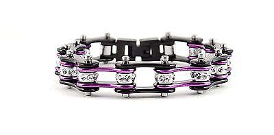 Women/'s Ladies Motorcycle Stainless Steel Crystal Purple Bike Chain Bracelet