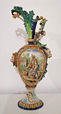 SchöN Antik Französisch Keramik Vase Wasserkrug Amphora Moïse Childhood W Löwenkopf Waren Des TäGlichen Bedarfs