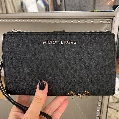 Michael Kors Jet Set Travel Doppia Zip Braccialetto MK PVC TELEPHONO CASE WALLET NERO | eBay
