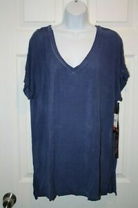 Details about Olivia Sky Women's Short Sleeve Shirt Top Plus Size Blue NEW NWT 50