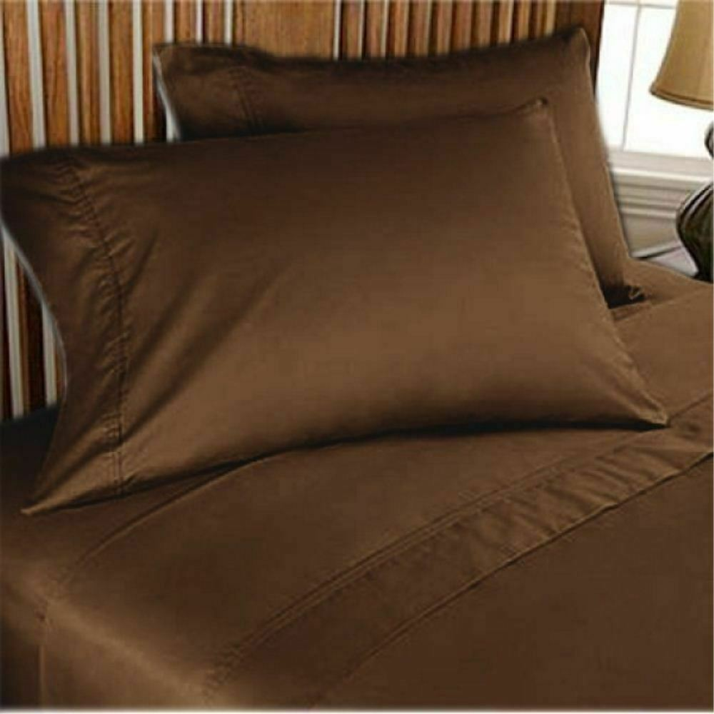Water Bed Sheet Set Luxury Hotel 100%Cotton 1000 TC US Size Chocolate Solid