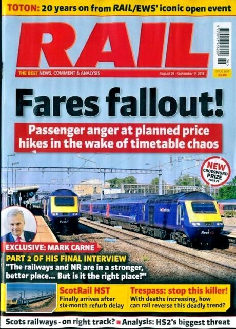 RAIL MAGAZINE ISSUE #860 29th AUGUST - 11th SEPTEMBER 2018 ~ NEW ~