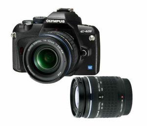 Olympus-EVOLT-E-420-10-0-MP-Digitalkamera-Schwarz-Kit-mit-2-Objektiven