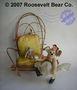 2-Miniature-hand-made-Artist-OOAK-TEDDY-w-willow-chair-CATHY-PETERSON