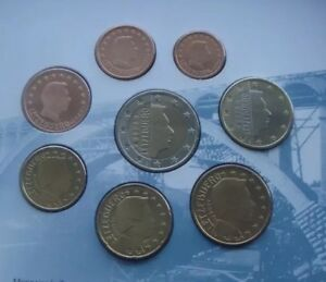 Luxembourg-Coins-X8-Set-2003-All-2-Euro-To-1cent-Coins-Only-UNC-From-Folder