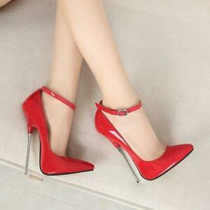 Sexy-Women-039-s-Pointed-Toe-ankle-strap-Stilettos-Shoes-Super-High-Heel-16-CM-Pumps