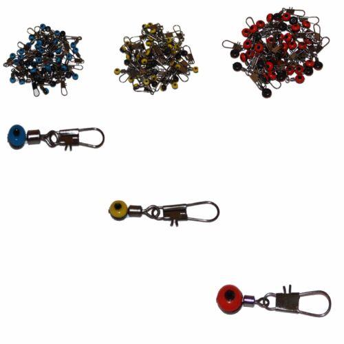 25 x Perlen Wirbel Laufwirbel mit Karabiner Posen Grundblei Angeln S M L Nr 13