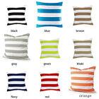 Home Decorative White Stripe Cotton Canvas Square Throw PillowCase Cushion Cover