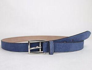 e10996f9f9e New Gucci Men s Blue Suede Leather Belt Silver Buckle 368193 4239