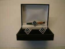 NEW AND BOXED MASONIC CUFFLINKS AND TIE CLIP MENS GIFT