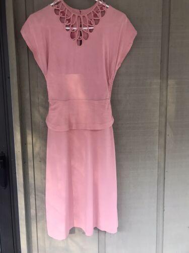 1930s 1940s Pink Rayon Dress