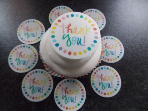 12 PRECUT Edible Thank you Discs wafer/rice paper cake/cupcake toppers (2)