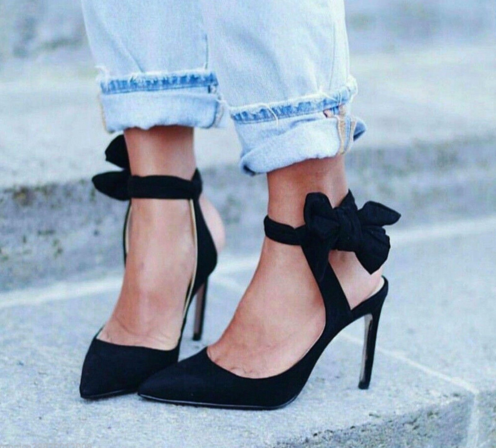 Tacones Cuero Elegante Gamuza Zara Inteligente Negro Imitación gYbfy76
