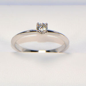 NEU-Diamantring-0-24-ct-in-Weissgold-18K-Solitaer-4-Krappen-Ringgroesse-56